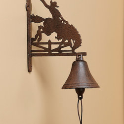 Giftcraft - Cast Iron Cowboy Dinner Bell - Designed with Western-inspired style, this iron bell makes a striking piece for dinner summons.   4'' W x 11'' H x 8'' D Iron Imported