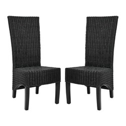 Safavieh - Thomas Chairs ( Set of 2 ) - Crafted of black wicker with a mahogany frame in a chic black finish, the Thomas side chair is brimming with casual, transitional style. Paring tactile woven wicker with a tall back and sloped bottom, Thomas brings true sophistication to the dining room, and brings warmth and hospitality to any gathering. Sold in sets of two.