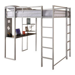 Ameriwood - DHP Abode Silver Full Size Loft Bed with Black Desk and Shelves - Ameriwood - Bunk Beds - 5457096 - Amazingly versatile convenient and space-saving the Adobe Full-Metal Loft Bed is not only functional but also looks great in any room and decor. Its cool silver metal look is refreshing and modern and the frame is durable and solid. Its loft bed and built-in desk provide the perfect sleep/study combination and there is still ample room under the loft bed for additional storage seating or design items. You will be amazed by how much you get with the Adobe Full-Metal Loft Bed.