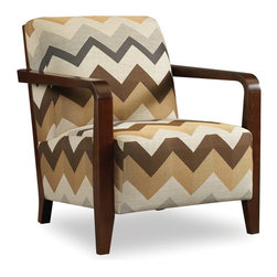 Sam Moore - Sam Moore Thomas Exposed Wood Chair - Joggle Earth Multicolor - 4260.11/JOGGLE E - Shop for Living Room Chairs from Hayneedle.com! The Sam Moore Thomas Exposed Wood Chair - Joggle Earth has a retro cool look that is as stylish as it is comfortable. Its geometric zig zag fabric upholstery in earth tones and exposed espresso-finished wood look bring it home in style. The cut-out circular design on back lends designer appeal.About Sam MooreSince 1940 Sam Moore's hand-crafted upholstered furniture has offered extraordinary quality comfort and style. This Bedford Virginia-based company proudly crafts its products right here in the USA. From classic to transitional to contemporary styles Sam Moore takes time with every detail making sure each piece is something you'll appreciate in your home.