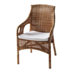 MAJBY Chair with armrests - Chair with armrests, rattan, white