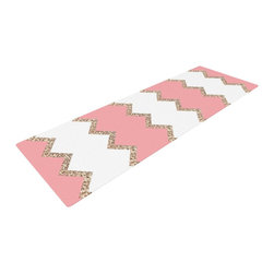 "KESS InHouse - Monika Strigel ""Avalon Coral Chevron"" White Blush Yoga Mat - Release your inner yogi in style with these artistically unique yoga exercise mats. These mats allow you to stretch and pose freely and comfortably as they are 72"" x 24""! Made of a durable, textured non-slip backing foam, these 1/4"" thick mats will cushion your body to allow you to child's pose and more during your workout routine. Carry your lightweight mat in a polyester blend bag with an adjustable shoulder strap for easy travel and clean up. These yoga exercise mats can be cleaned with a swipe of a towel and mild soap."