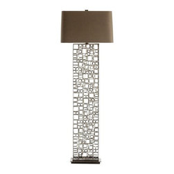 """Arteriors - Arteriors Darren Iron Brass Floor Lamp - """"Calderesque"""" without a doubt, this rectangular metal floor lamp consistes of hundreds of natural iron hand welded square shapes. Note that the welding is done in brass creating an interesting 2-tone finish. We topped this floor lamp with a rectangle gray linen shade."""