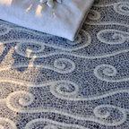 Eddies Stone Mosaic - Eddies, a hand chopped natural stone mosiac, is shown in 1cm Blue Bahia, Bardiglio, and Carrara.