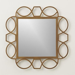 Fretwork Brass Mirror - Early fretwork designs were cut into wood or metal embellishing furniture, instruments and architecture. Our modern version takes its cue from the classic Greek key motif, adding graceful curves and an aged brass finish to set off a square of mirrored glass.