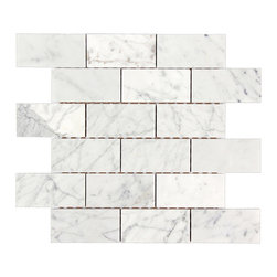 All Marble Tiles - Bianco Carrara 2x4 Polished Marble Brick Mosaic Tile - The Bianco Carrara collection or white Carrara Collection allows you to play with colors for your interior. Besides getting a lovely option of pure white on tile, this collection also features a white grey hue to try. With these two colors you can create a modern or classic looking theme in your home according to preference.