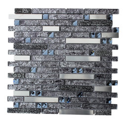 """mosaicandtilesource - """"BLACK DIAMOND"""" Stainless Steel with Silvery Black Foil and Antique Stone - Additional information"""