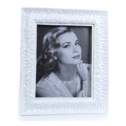 "Concepts Life - Concepts Life Photo Frame  Perpetual Tide  8x10"" - Reminiscent of the ocean and channeling its calming power, our Perpetual Tide frame infuses calm energy into your photographs and brings sophistication to your home. This white frame with a glossy finish makes a graceful addition to any photo frame collection.  Modern home accent Contemporary white picture frame Beautiful and elegant home accent Rectangular photo frame Made of polyresin Textured glossy finish Easel back for horizontal or vertical display Various sizes available Holds 8 x 10 in. size photo Dimensions: 12""w x 14""h x 1""d Weight: 3 lbs"