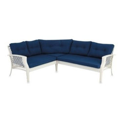 Ace Evert Inc. - Wicker Sectional Set in Blue - Sofa consists of a right arm chair, left arm chair and middle triangular chair to provide sectional seating for any outdoor setting. Made using an all steel body for strength and a wicker design for elegant styling.