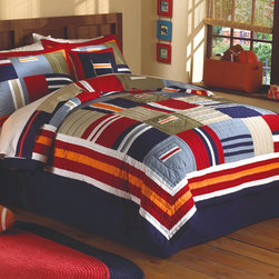 Ronnie Patchwork Boys Quilt Set - The Ronnie Patchwork quilt set features bright, bold colors in a classic geometric design. This quilt features pockets for sorting all kinds of things. This quilt is a wonderful addition to any boys bedroom decor. If you are wanting to update his space in a classic way then the Ronnie Patchwork quilt set is perfect you.