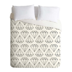 DENY Designs - DENY Designs Wesley Bird Diamond Print 2 Duvet Cover - Lightweight - Turn your basic, boring down comforter into the super stylish focal point of your bedroom. Our Lightweight Duvet is made from an ultra soft, lightweight woven polyester, ivory-colored top with a 100% polyester, ivory-colored bottom. They include a hidden zipper with interior corner ties to secure your comforter. It is comfy, fade-resistant, machine washable and custom printed for each and every customer. If you're looking for a heavier duvet option, be sure to check out our Luxe Duvets!