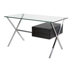 Nuevo Living - Xavier Desk in Chrome and Ash by Nuevo - HGGC150 - The Xavier Desk by Nuevo features a square tube chromed steel frame, ash veneer drawer, and a 12mm clear tempered glass top.  The simple yet elegant lines of the Xavier make it the perfect desk for home or office.