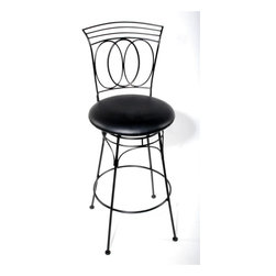Trade Wind Treasures - Metal Geo Swivel Armless Barstool in Black (26 in.) - Choose Seat Height: 26 in.. Black leatherette seat. Made from solid steel. Black powder baked finish. 18 in. round seat. Warranty