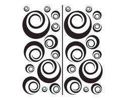 """WallPops - Ringlets Wall Art Decal Kit - WallPops Ringlets are cool, abstract and very cosmopolitan. Bring a modern geometric swirl to your style with these wall decals. Ringlets Kits are printed on two 17 1/4"""" x 39"""" sheets, and contains 26 pieces. Ringlets Kits are repositionable and totally removable."""