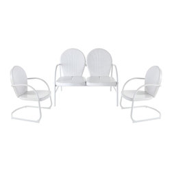 Crosley Furniture - 3-Pc Outdoor Seating Set in White - Includes loveseat and two chairs. UV resistant. ISTA 3A certified. Made from steel. Non-toxic powder coated finish. Warranty: 90 days. Loveseat: 41.13 in. W x 29.5 in. D x 34.5 in. H (29 lbs.). Chair: 28.5 in. W x 21 in. D x 34.5 in. H (15 lbs.). Overall weight: 59 lbs.. Assembly InstructionsRelax outside for hours on our nostalgically inspired Griffith metal outdoor furniture. Kick back while you reminisce in this seating set, designed to withstand the hottest of summer days and other harsh conditions.