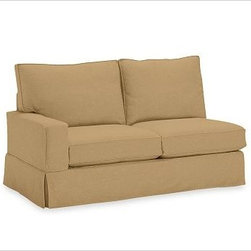 """PB Comfort Square Left Love Seat Slipcovers, Twill Camel - Designed exclusively for our versatile PB Comfort Square Sectional Components, these soft, inviting slipcovers retain their smooth fit and remove easily for cleaning. Left Armchair with Box Cushions is shown. Select """"Living Room"""" in our {{link path='http://potterybarn.icovia.com/icovia.aspx' class='popup' width='900' height='700'}}Room Planner{{/link}} to select a configuration that's ideal for your space. This item can also be customized with your choice of over {{link path='pages/popups/fab_leather_popup.html' class='popup' width='720' height='800'}}80 custom fabrics and colors{{/link}}. For details and pricing on custom fabrics, please call us at 1.800.840.3658 or click Live Help. Fabrics are hand selected for softness, quality and durability. All slipcover fabrics are hand selected for softness, quality and durability. {{link path='pages/popups/sectionalsheet.html' class='popup' width='720' height='800'}}Left-arm or right-arm{{/link}} is determined by the location of the arm as you face the piece. This is a special-order item and ships directly from the manufacturer. To see fabrics available for Quick Ship and to view our order and return policy, click on the Shipping Info tab above. Watch a video about our exclusive {{link path='/stylehouse/videos/videos/pbq_v36_rel.html?cm_sp=Video_PIP-_-PBQUALITY-_-SUTTER_STREET' class='popup' width='950' height='300'}}North Carolina Furniture Workshop{{/link}}."""