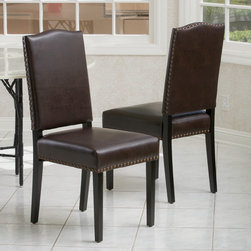 Christopher Knight Home - Christopher Knight Home Brunello Brown Leather Dining Chairs (Set of 2) - The Brunello dining chairs offer users comfortable seating in an elegant style. Upholstered in brown bonded leather and detailed with bronze studs,you'll be sure to impress guests with these dining chairs.