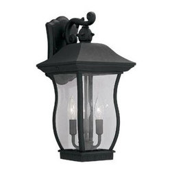 Cordelia Lighting - Cordelia Lighting Outdoor Lanterns. Cumberland Collection Wall Mounted 3 Light O - Shop for Lighting & Fans at The Home Depot. Cumberland outdoor lanterns feature an elegant uniquely curved design with a scrolled arm, framed backplate and exquisite detailing that complements the decor of any home. The clear glass works with the finish and detailing to provide a classic look from the fixture and a warm glow from the light. The solid black finish is treated to prevent pitting, tarnishing, corrosion, and discoloration. The sturdy, weather resistant cast aluminum construction and waterproof seal protect the lantern from harsh outdoor elements to ensure the long life of the fixture. These outdoor lanterns install easily and deliver welcoming, safe and reliable exterior lighting.