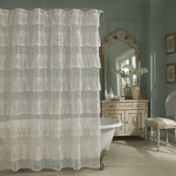 Lorraine Home Fashions - Priscilla Lace Shower Curtain in Ivory - Add old-fashioned elegance to your bathroom with the Priscilla Lace shower curtain. The cascading layers of ruffled lace have grace and texture.