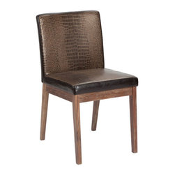 ARTeFAC - Croco Dining Chair SR-24261-RL - This attractive dining chair features a golden brown faux crocodile pattern on the front and espresso finish on the back. Solid walnut frame and legs with a distressed finish. Some assembly required.