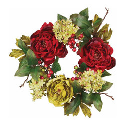 """Oddity - Oddity Party Decorative 6"""" Red Peony with Hydrangeas and Leaves Candle Ring - Simply gorgeous! Gracious peony blossoms are the inspiration for this design that is as rich as it is beautiful. Earthy tones and traditional styling make this faux collection an instant classic."""