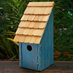 Bluebird Bunkhouse Bird House - Simple in design and ruggedly built, this artfully crafted bird house provides function and beauty. Complete your space with this shingled roof bunkhouse and wait for a bluebird to call it home.