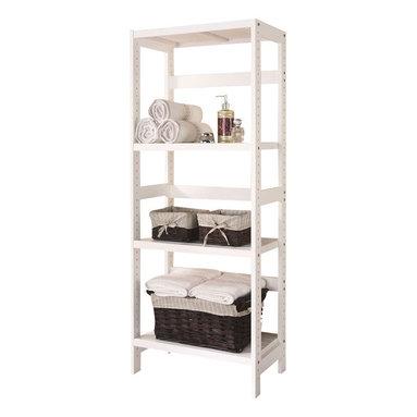 Adarn Inc - 3-Shelf Wooden Bathroom Towel Storage Rack Stand Organizer Unit, White - Features: