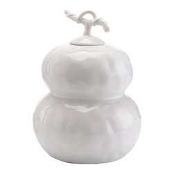 John Richard - John Richard Small White Dimpled Double Gourd Urn JRA-8690 - A white glazed dimpled double gourd urn. Shown in the shorter size. Note: Due to glazing process, variations in color will occur. No two will be identical.