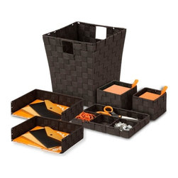 "Woven Desk Org Set - Espresso - Honey-Can-Do OFCX05065 Woven Desk Organization Kit, Espresso. Keep your desk neat and orderly with this desk organization kit from Honey-Can-Do. Complete with two pencil holders, two letter trays, one drawer organizer and one waste basket, this matching set includes everything you need to be stylish and organized. All of the items are made of a double woven fabric and a steel frame that provides durability and strength. Pencil holders measure 5""L x 5""W x 3.9""H and 4.3""L x 4.3""W x 3.5""H. Letter trays have three edges with the four side providing easy access to letters and documents. Drawer Organizer has one long compartment and three equal sized compartments. Waste basket has cut out handles and measures 10""L x 10""W x 11""H. Mix and match with other woven office items by Honey-Can-Do."