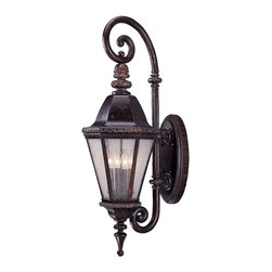 Savoy House - Canterbury Wall Mount Lantern - This regal outdoor lantern features multiple frosted-glass panels, creating a soothing glow. Stately and solid with intricate trim details and distinct finials, you'll feel like a King (or Queen) when your path is lit with this lantern.