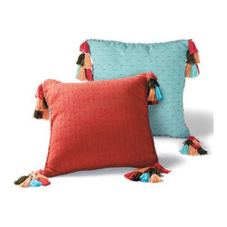 Grandin Road - Tassel Throw Pillow - Pillow covered in finely ribbed cotton, woven in a subtle bird's eye pattern. Adorned with soft yarn tassels at each corner, and coordinating yarn-accented corded edges. Polyfill insert included. Hidden zipper. Select from three coordinated colors. Spice up your seating with throw pillows decorated with clusters of yarn tassels. Pillow covered in finely ribbed cotton, woven in a subtle bird's eye pattern .  .  .  .  . Imported.