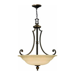 Hinkley Lighting - 4244OB Plymouth 9-Light Ceiling Pendant, Olde Bronze, Mocha Colored Glass - Traditional Ceiling Pendant in Olde Bronze with Mocha Colored glass from the Plymouth Collection by Hinkley Lighting.