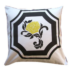 "Mari Robeson Home - Vintage Rose Pillow, Without Pillow Insert - Vintage Rose Pillow 16"" x 16"" pillow slip cover with hidden zipper enclosure. Back is solid black cotton twill.  Made right here in Sunny California!"