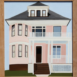 Jessica Rohrer, Pink House, New Haven, Connecticut, Painting - Artist:  Jessica Rohrer, American