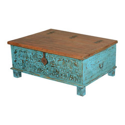 Sky Blue Primitive Carvings Reclaimed Wood Standing Storage Chest - Add energy, art and storage space with our handmade Sky Blue Primitive Carvings Coffee Table Chest. This solid hardwood multi-use box can be used as an accent table, window bench and linen storage. It stands off the floor on cube feet. The lid is attached on the top back with three exterior hinges and two interior chains.