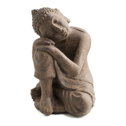 Repose Home - Dwelling Buddha, Antiqued Brown - Our beautiful, resting Buddha will be ideal for a special place in your garden. Cast in elegant, stonewashed volcanic ash and weatherproofed for indoor or outdoor use.