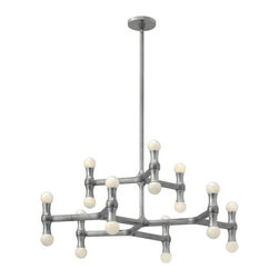 Fredrick Ramond - Fredrick Ramond FR41948PAL Karma 18 Light Chandeliers in Polished Aluminum - Karma's modern European design is constructed from light weight die cast aluminum. The unique, arm design features up and down lamping, complemented by a chic Polished Aluminum finish.
