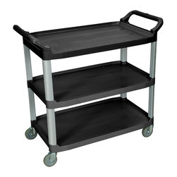 """Luxor - Luxor Large Serving Cart 3 shelves - SC13-B - 3-shelf Serving cart is designed for maximum storage and weight capacity. Overall cart dimensions are 40 1/2W x 19 3/4D x 37 1/4H. Top shelf usable space is 29 1/2W x 19 1/4D. All shelves include a 1"""" lip on both sides and the back to help control contents. Shelves are spaced 12"""" apart for easy loading and unloading. Constructed of durable polypropylene plastic to resist scratches, chips and dents. Durable and light weight aluminum uprights provide excellent stacking strength. Easy to assemble. 300 lb capacity (evenly distributed) Color: black."""