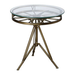 Uttermost - Tevi Brass Clock Table - Classic, old brass finish on the iron workings and clock face beneath a clear glass top.