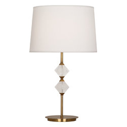 Robert Abbey - Juliet Table Lamp, Aged Brass - This classic beauty of a lamp features geometric detailing, a solid brass base, and a creamy white shade. The rock crystal accents glow when the light's brilliance is turned on. This lamp is a lovely addition to your side table.