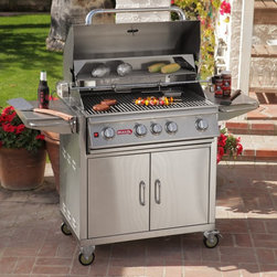 Bull Outdoor Products - Bull Angus BBQ Grill Cart Multicolor - 44000LP - Shop for Grills from Hayneedle.com! The Bull Angus Gas Grill with Cart is a stainless steel backyard beauty that's packed with powerful features to make your grilling great. This 75 000 BTU cooking system boasts 4 stainless steel 15 000 bar burners and a 15 000 BTU infrared back burner for total heat control and maximum flexibility. The main cooking surface is an ample 600 square inches and features a 210-square-inch warming rack above. The Angus sits in a custom-built stainless steel cart featuring dual doors down below 4 heavy-duty casters and 2 convenient side tables for all your food prep work. Keep reading below for a complete list of features and included accessories and get ready for backyard grilling like you've never known before. Key features of the Bull Angus Gas Grill with Cart: 16-gauge 304 brushed stainless steel construction - grill head and cart 4 stainless steel bar burners at 15 000 BTUs each 1 infrared rear burner with 15 000 BTUs 5 Bull Sure-Lite gas valves for reliable safe performance 5 heavy-duty push-to-turn knobs with built-in ignition Dual-lined roll-top hood with seamless welded edges Heavy-duty hi-temp thermometer built-into lid Stainless steel cooking grates - 600-square-inch primary cooking surface 210-square-inch stainless steel warming rack Full-size stainless steel drip tray Chrome-plated spit and rod for spit-style rotisserie cooking Flavor bar and smoker box included Stainless steel rotisserie motor Full-length stainless steel handle Hose and regulator included with LP model; GS regulator included with NG model Stainless steel cart with dual front drawers Four heavy-duty casters; 2 locking for safe movement and placement Two spacious side tables for prep work and serving Complete grill packs is CSA-certified and NSF-approved Complete dimensions: 56.5L x 25D x 48.5H inches Product warranty: Burners have a 20-year warranty. Grates carry a life-time warranty; remainder of product pieces have 1 year warranty. About Bull Outdoor ProductsBull Outdoor Products will change the way you barbecue. The award-winning grills and grill accessories are designed engineered and master-crafted with the finest materials available. All Bull Stainless Steel products are approved by the National Sanitation Foundation which allows residential customers to cook on commercial-quality grills. Bull Outdoor Products Inc. pioneered the concept of outdoor barbecue islands recognizing the need for backyard barbecue enthusiasts to bring their grilling talents to match those of professional chefs.