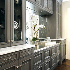 Kitchens / kitchens - charcoal gray kitchen glass-front cabinets orchid mirrored