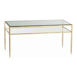 """Arteriors - Arteriors Home - Dean Cocktail Table - 4102Dean - This hammered iron cocktail table has a gold leaf finish and a floating shelf. The top of the table is inset with glass and the lower shelf is mirrored. Features: Dean Collection Cocktail TableGold Leafed Iron/Clear Glass/Plain Mirror Some Assembly Required. Dimensions: H: 19.5"""" x W: 40"""" x D: 20"""""""