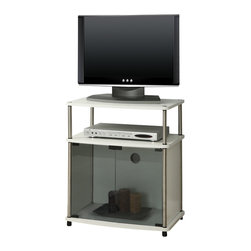 Convenience Concepts - Convenience Concepts TV Stand with Black Glass Cabinet X-W650151 - Modern Styling is the essence of the Designs2Go&trade: TV Stand with Glass Doors, style# 151056. Easy and simple No Tools Assembly.