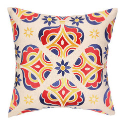 """Desert Garden Down Filled Embroidered Pillow - White, Blue, Red, Yellow - Colorful and cheery embroidered pillow.  Great for contemporary or modern decor. 18"""" x 18""""."""