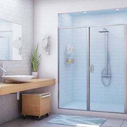 Bath enclosures - Possibly the most versatile of all StikStall Enclosures, our in-line Door/Panel styles adapt quickly and economically to virtually any shower opening from 36″ to 60″ wide.  Economy comes from matching custom-tempered sidelite glass with a standard size door.