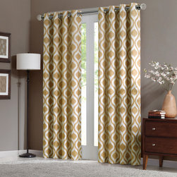 "Madison Park - Madison Park Verona Window Curtain - Uptdate your room with a stylish and modern Ogee window panel. The golden yellow color adds a refreshing touch to the print, while the chenille jacquard fabric creates a beautiful texture. Microfiber lining offers room darkening features and energy saving abilities. Grommet top detail makes it easier to hang, open, and close panels throughout the day. Fits up to 1.25"" diameter rod. 100% polyester chenille with micro fiber 75gsm linging, grommet top with lining."