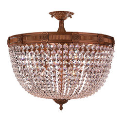 "Worldwide Lighting - Winchester 9 Light French Gold & Crystal 24"" Round Semi-Flush Ceiling Light - This stunning 9-light Flush-mount only uses the best quality material and workmanship ensuring a beautiful heirloom quality piece. Featuring a solid cast aluminum base in french gold finish and all over clear crystal embellishments made of finely cut premium grade 30% full lead crystal, this flush mount will give any room sparkle and glamour. Worldwide Lighting Corporation is a privately owned manufacturer of high quality crystal chandeliers, pendants, surface mounts, sconces and custom decorative lighting products for the residential, hospitality and commercial building markets. Our high quality crystals meet all standards of perfection, possessing lead oxide of 30% that is above industry standards and can be seen in prestigious homes, hotels, restaurants, casinos, and churches across the country. Our mission is to enhance your lighting needs with exceptional quality fixtures at a reasonable price."