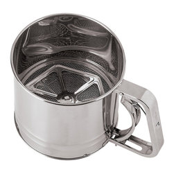Paderno World Cuisine - 4-3/4-in. Diameter Stainless Steel Flour Sifter with Tinned Mesh - This Paderno World Cuisine 4-3/4-in. diameter stainless steel flour sifter with tinned mesh is a staple in every kitchen.