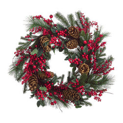 Silk Plants Direct - Silk Plants Direct Pine Cone, Berry and Pine Wreath (Pack of 2) - Pack of 2. Silk Plants Direct specializes in manufacturing, design and supply of the most life-like, premium quality artificial plants, trees, flowers, arrangements, topiaries and containers for home, office and commercial use. Our Pine Cone, Berry and Pine Wreath includes the following: